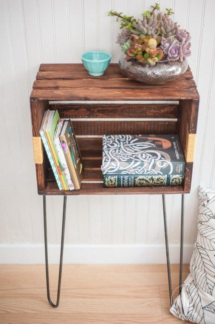 Vintage Nightstands Ideas : This designer turned a crate on its side and used simple metal to ...